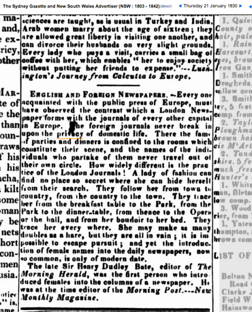 PrivacySydneyGazetteExtract1830
